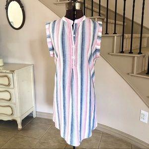 Cloth & Stone Striped Linen Tunic Dress Sleeveless